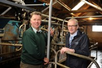 NI Water's Des Shields, advises farmer and Dairy Policy Committee Chairman at UFU, Andrew Addison, to lag pipes in out buildings