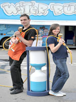 NI Waters Clare O'Hora and B&Q Chris Murray team up to save water by using trigger nossels.