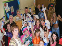 Pictured with their NI Water bottles is the cast of Ali Baba and the Four Tea Leaves aka Whitehead Theatre Group