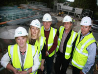 Overseeing the progress are (L-R):  Cllr Anne McAleenan, Theresa McLaverty (Margaret Ritchie's Office), Cllr Patsy Toman, Cllr Mickey Coogan and Kieran Grant, Senior Project Manager, NI Water.