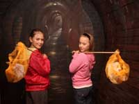 Naomi Stewart and Megan McLaughlin head off down the drain with their fishing nets to scoop up some of the inappropriate items lurking down our sewers.