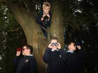 William Rooney and his friends look out for red squirrels at Silent Valley Mountain Park