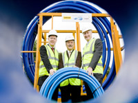(L-R) Eamonn Sweeney Farrans Construction, Trevor Haslett NI Water and Adrian Dixon of Lagan Construction prepare for the start of the new phase of the Water Mains Rehabilitation Programme