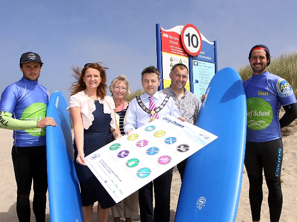 Dom Clarke, Longline Surf School, Angela Halpenny, NI Water, Eileen Magee, Tourism manager, Limavady Borough Council, Alan Robinson, Mayor of Limavady, Richard Gillen, Countryside Services Officer, Limavady Borough Council and Dan Lavery, Longline Surf Sc