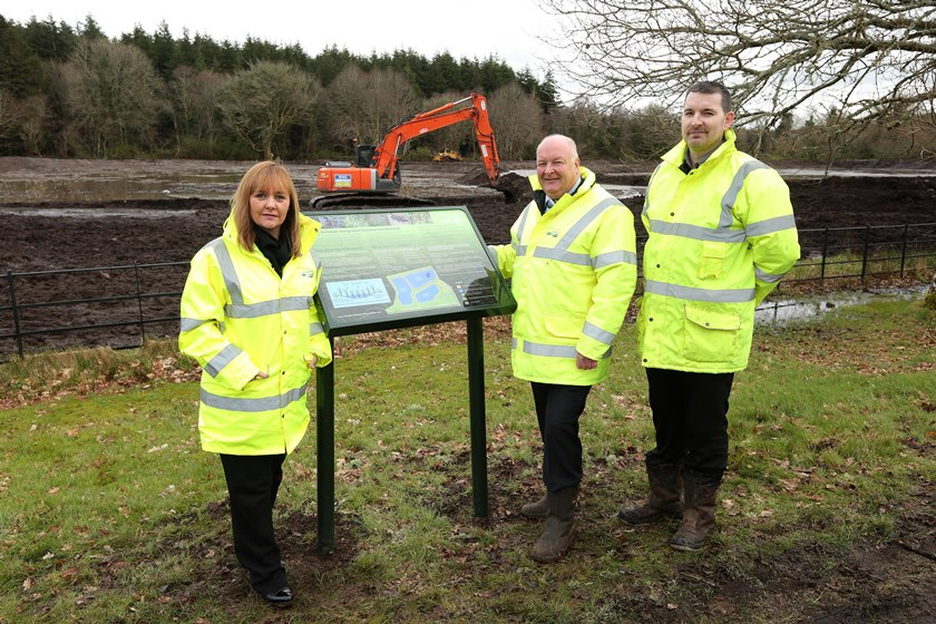 (L-R) Regional Development Minister Michelle McIlveen, Dermott McCurdy NI Water Project Sponsor, and Barney McEldowney Contract Manager BSG Civil Engineering Limited.
