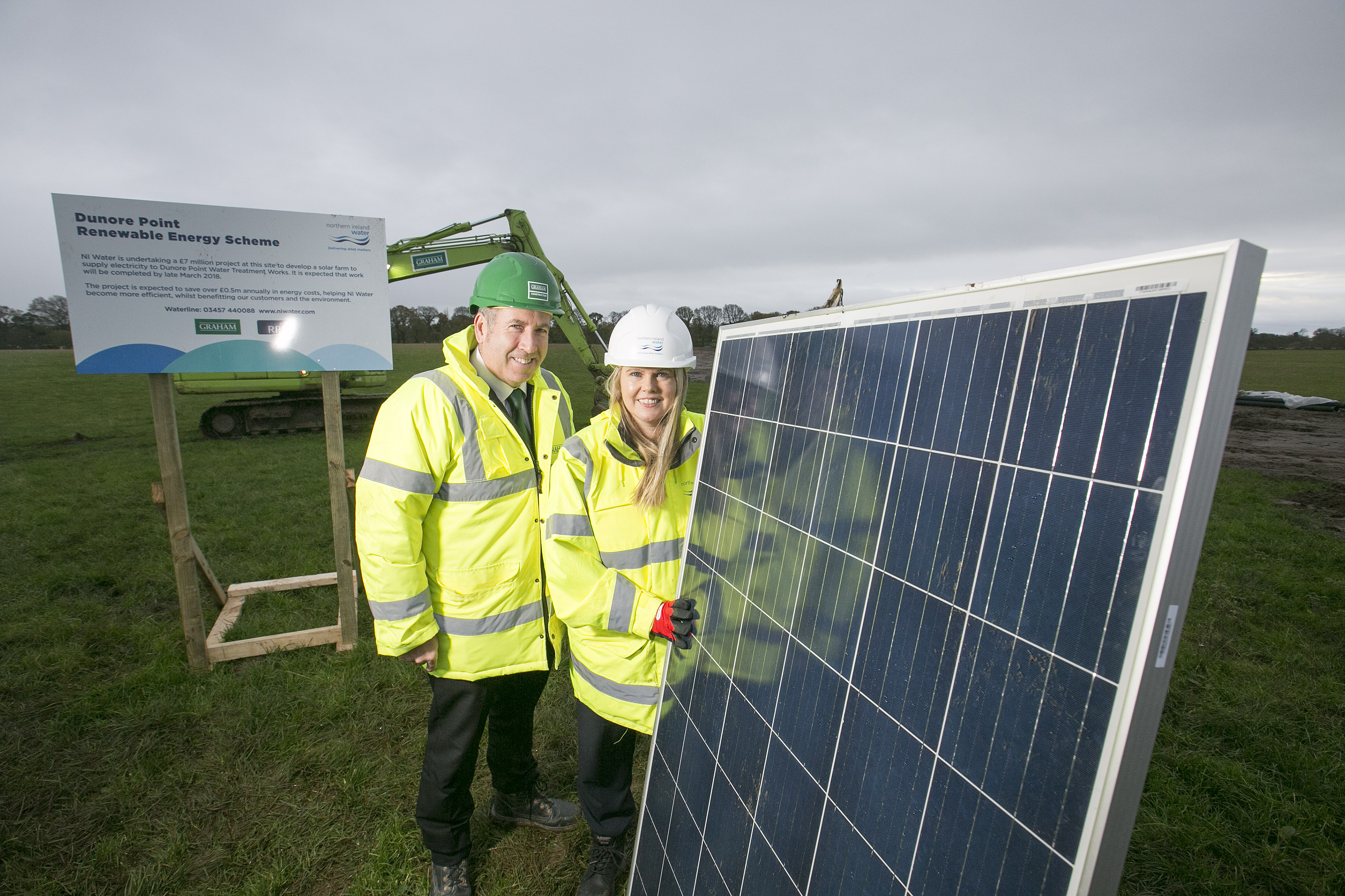 Sara Venning Chief Executive of NI Water pictured with Leo Martin, Managing Director of Civil GRAHAM Construction at the launch of NI Water's new £7 million solar farm
