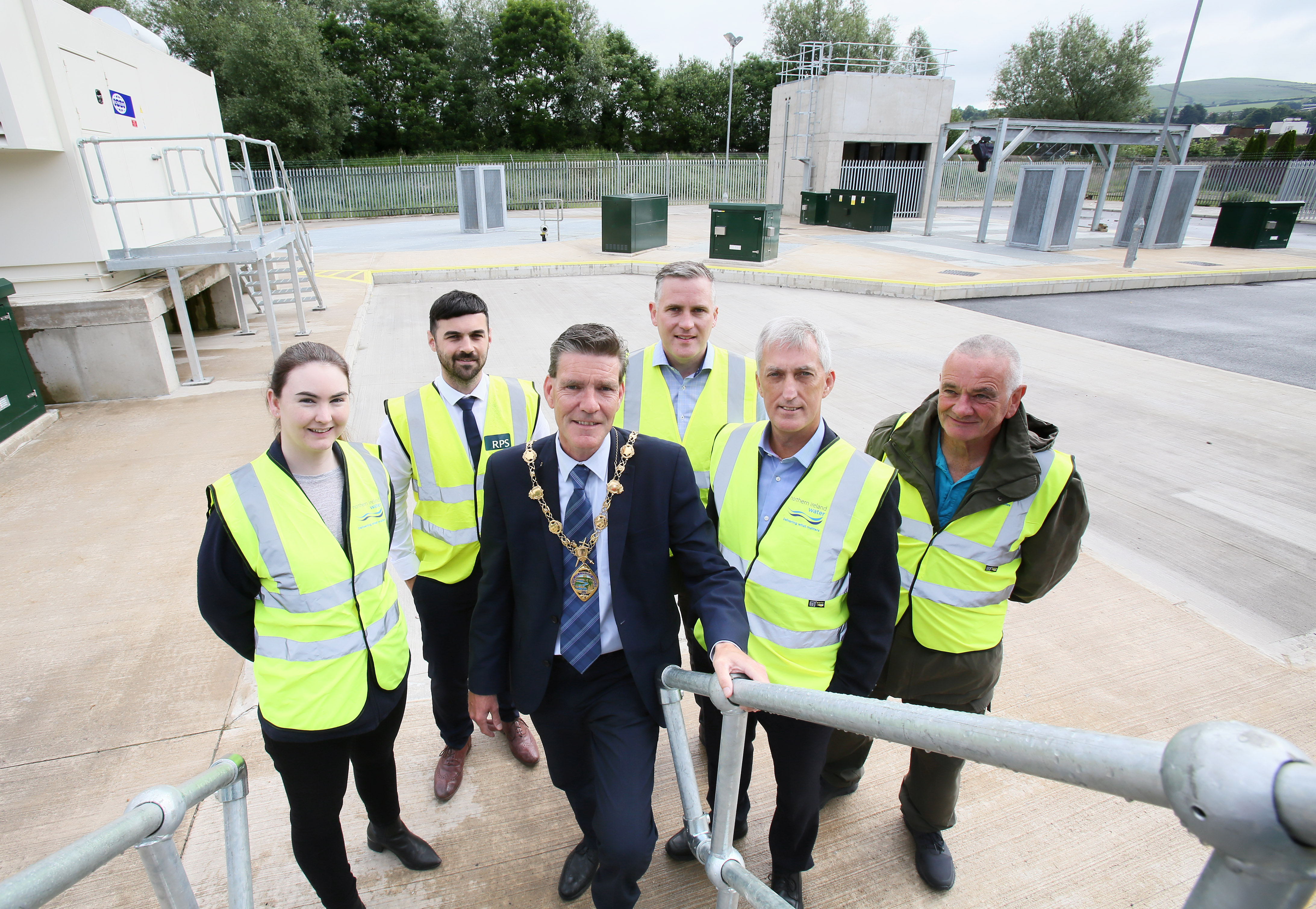 Catherine Watkins NI Water Project Manager, Mark McEvoy RPS, Mayor of Derry City & Strabane District Council- Councillor John Boyle, Gerard McColgan Dawson WAM, Eamon McManus and John Curran (both NI Water) take a tour of the upgraded Pumping Station.
