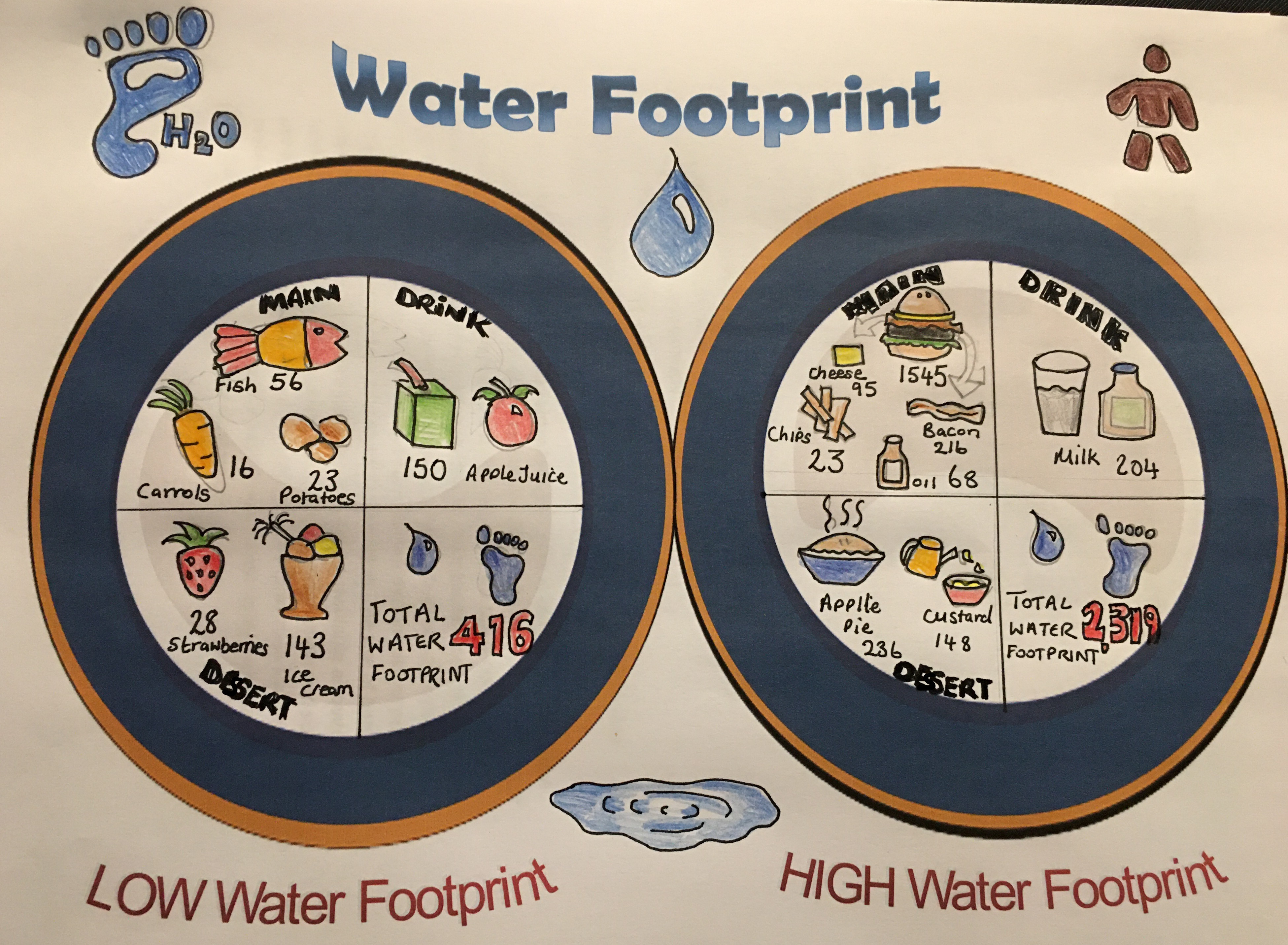 Year 9 pupil from Foyle College water footprint menu