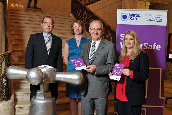 L-R Michael McGreevy NI Water, Dymphna Gallagher NI Water, Regional Development Minister Danny Kennedy and interim Chief Executive Sara Venning