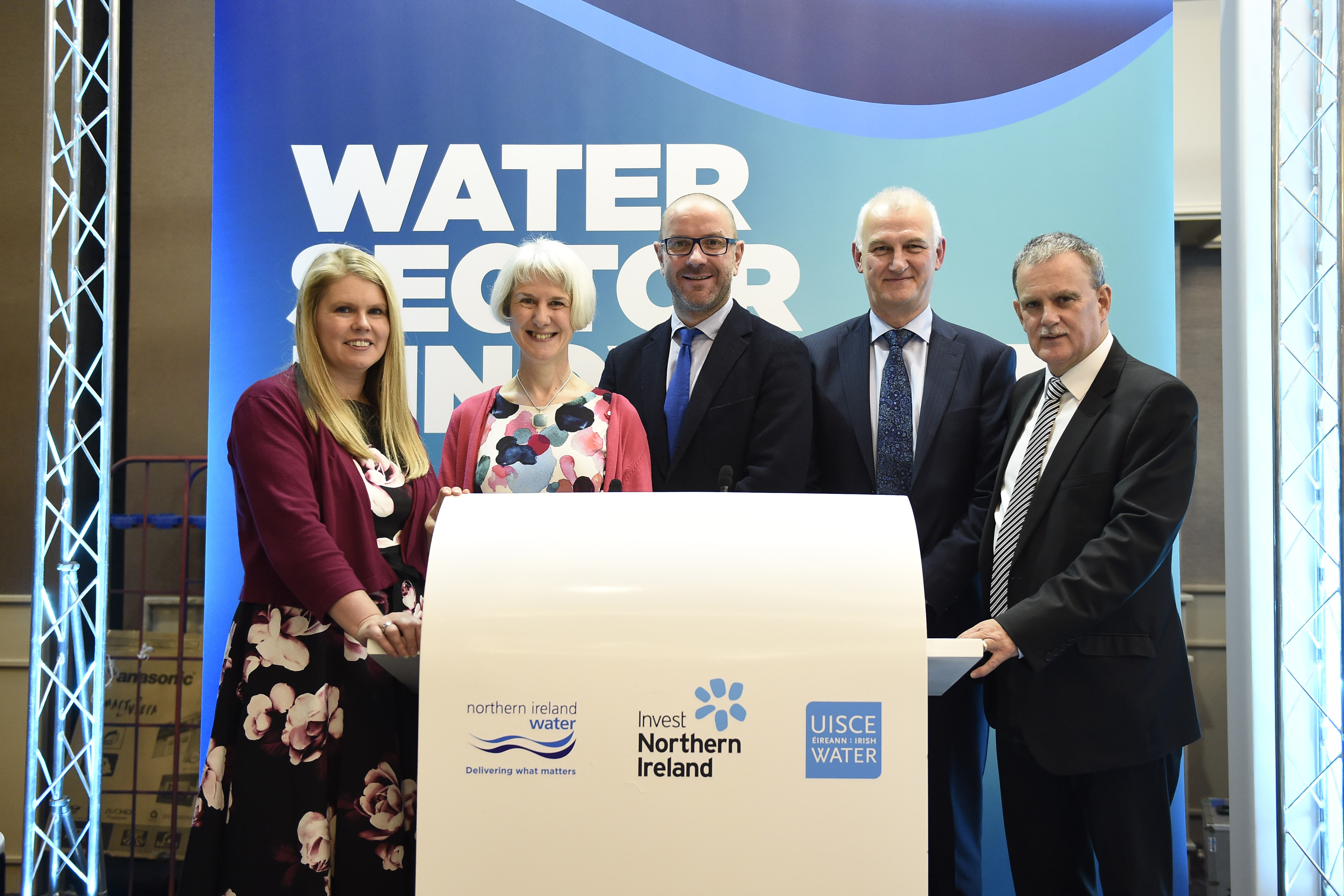 NI Water CEO Sara Venning with Jane Mellor, NI Water's Head of Operational Procurement; John Joyce, Stockholm International Water Institute; Paul Harper, NI Water's Director of Asset Delivery; and Sam Knox of Invest NI.
